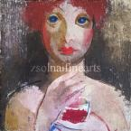 Aba-Novák, Vilmos  Girl with a Glass, c. 1930 23×22,5cm oil temp on wood  No Sign.  Exhibited, Reproduced