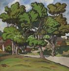 Béla Kádár  Twisting path under leafy trees, c'1910   60×62cm tempera on paper signed bottom left Kádár Béla